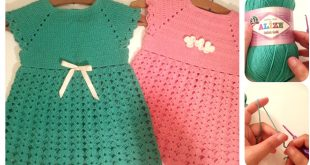 صور فساتين اطفال كروشيه , اجمل الفساتين بحياكة الكروشية