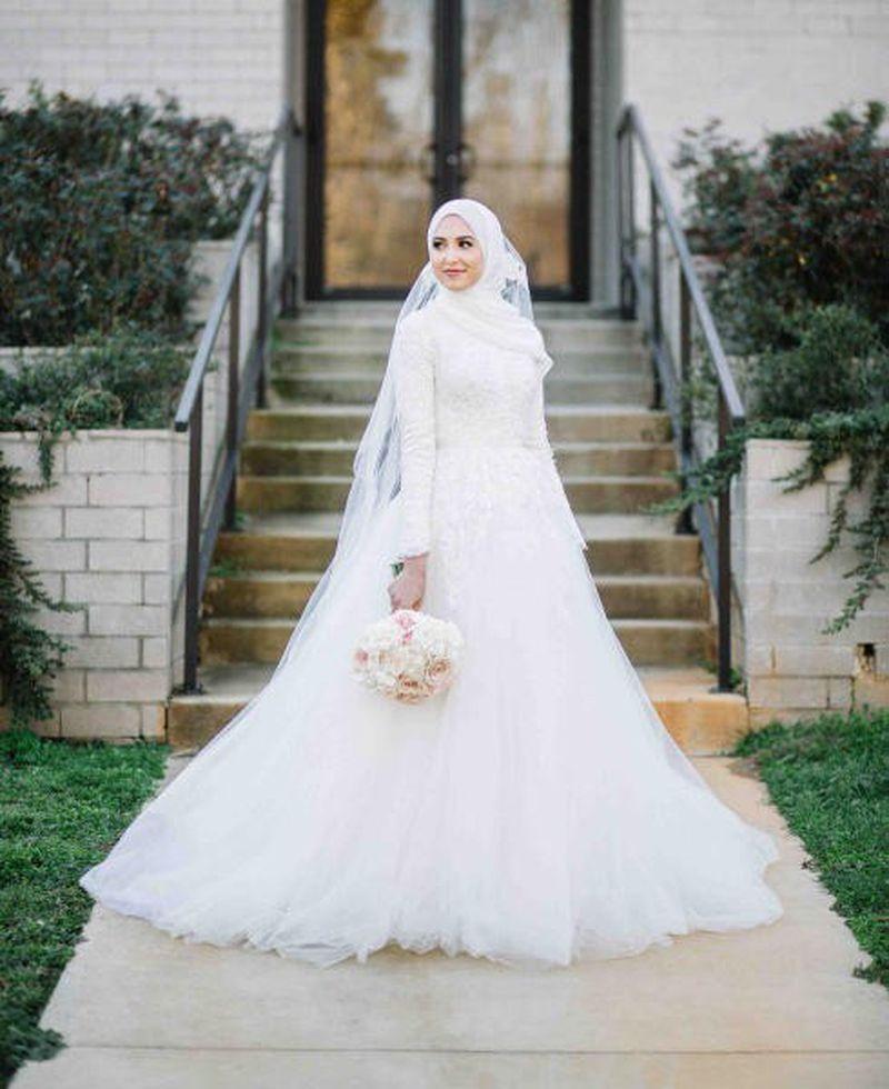 صورة فساتين اعراس للمحجبات , محجبات فاشون للعرائس