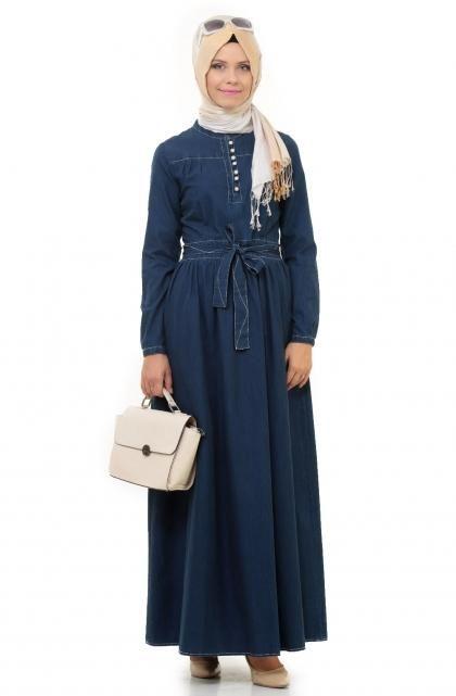 صورة فساتين سواريه للمحجبات 2019 , احدث تصميمات لفساتين المحجبات