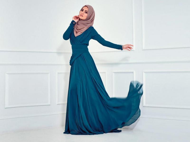 بالصور فساتين سواريه للمحجبات 2019 , احدث تصميمات لفساتين المحجبات 5966 2
