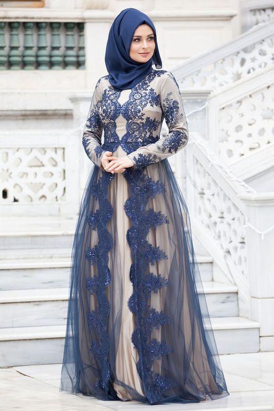 بالصور فساتين سواريه للمحجبات 2019 , احدث تصميمات لفساتين المحجبات 5966 9