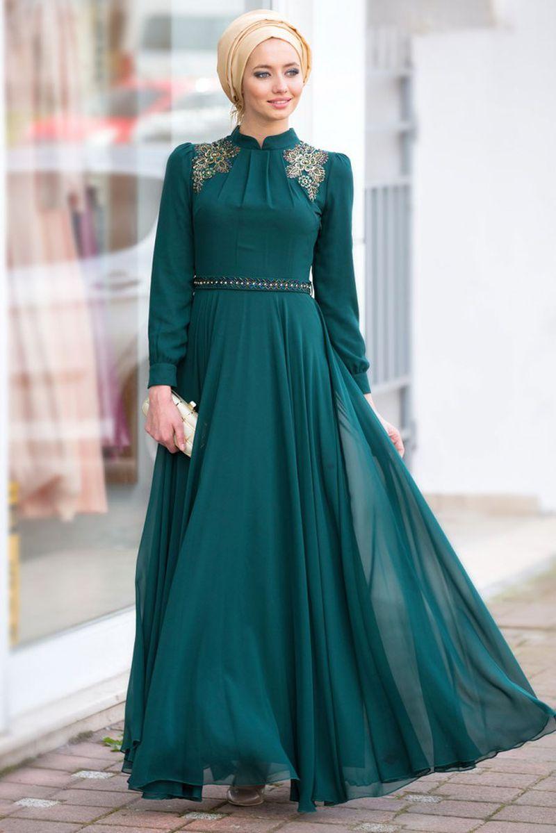 صور فساتين سواريه للمحجبات 2019 , احدث تصميمات لفساتين المحجبات