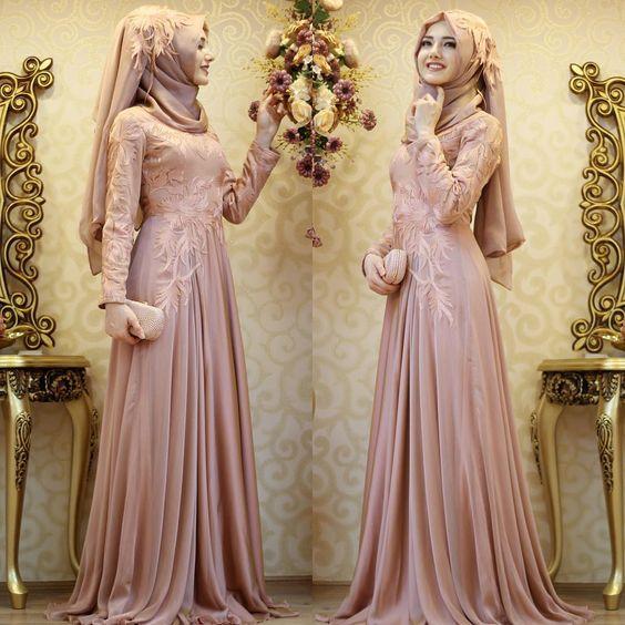 صورة موديلات فساتين سهرة , ارقى كولكشن فستان محجبات للسهره فخمة
