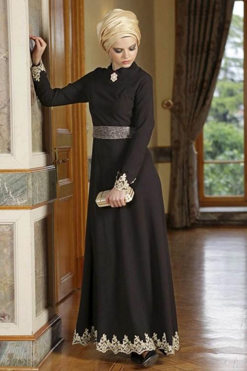 صور فساتين طويلة للمحجبات , افضل الفساتين الطويلة للمحجبات