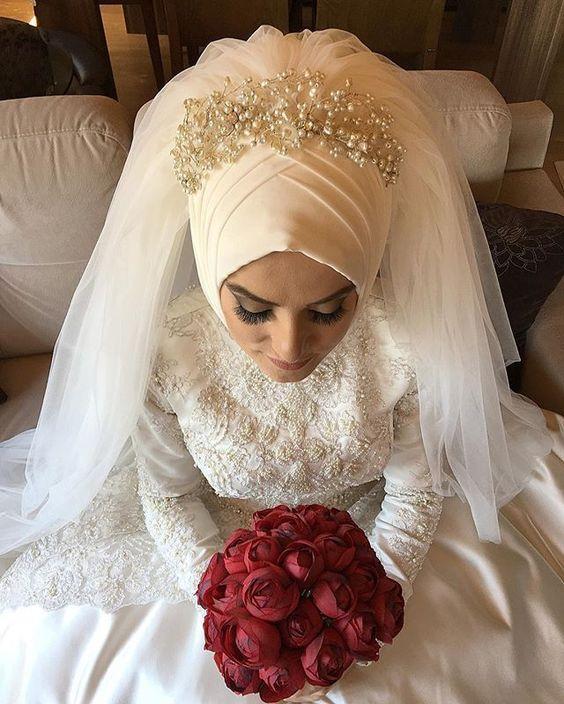 بالصور صور عرايس محجبات , روعة و جمال العرائس المحجبات 1383 3